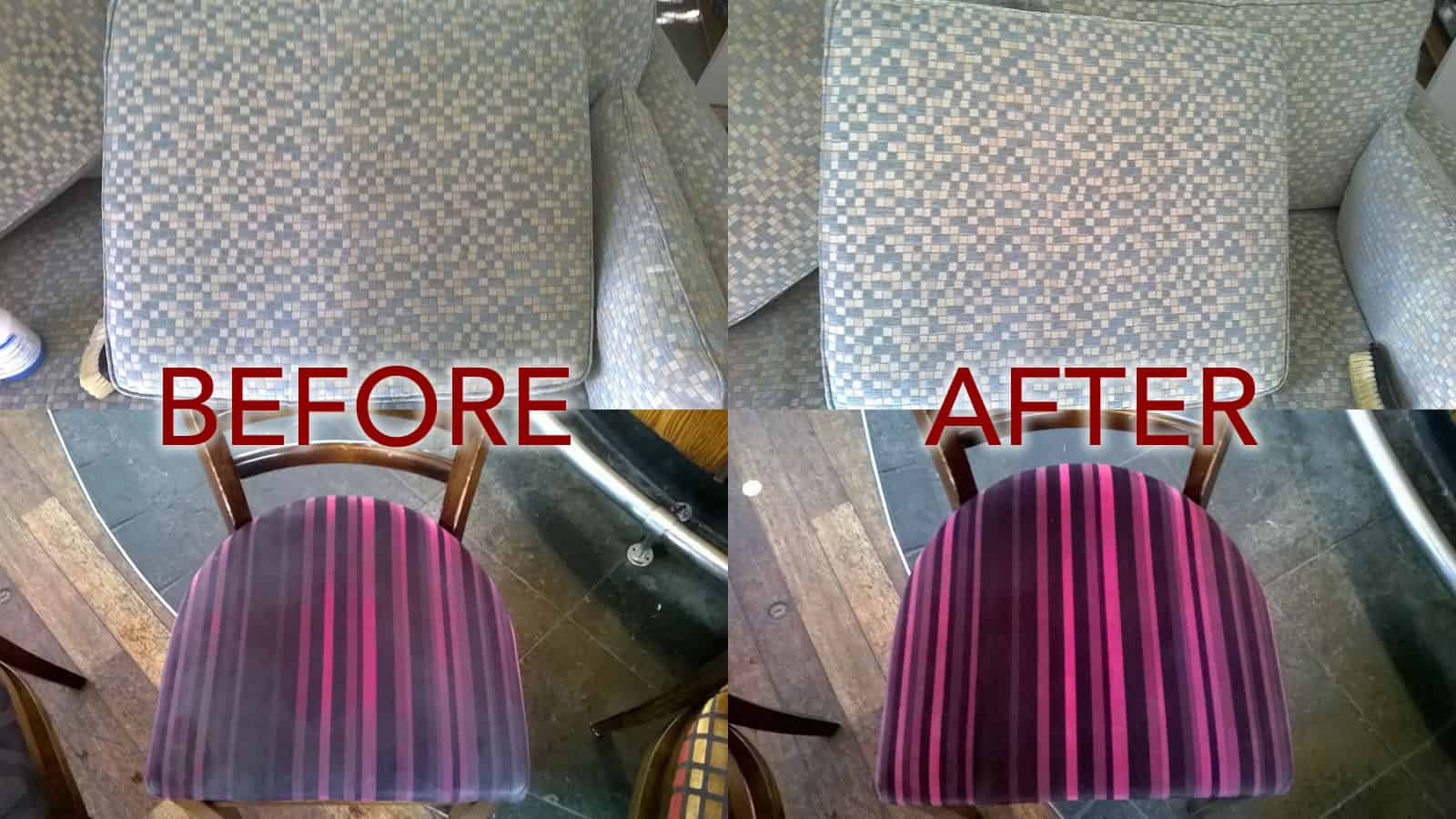 Upholstery and cushions before professional cleaning and after being cleaned professionally.