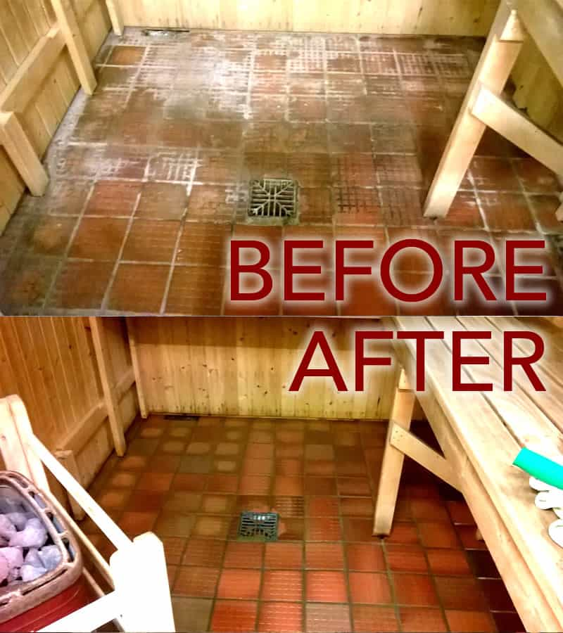 Sauna Tiles Steam Cleaned Before and After