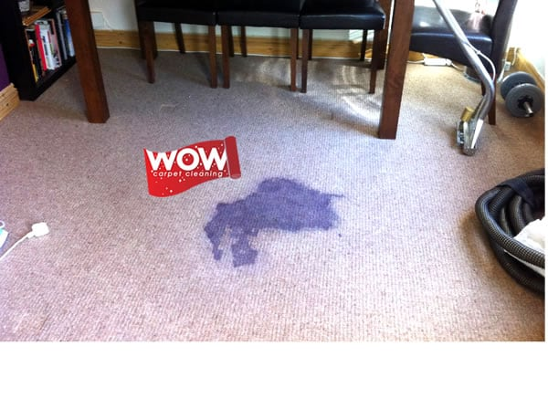 Red Wine Carpet Stain Before Cleaning