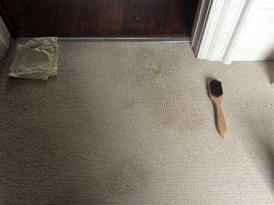 A radiator rust stain on carpet during treatment