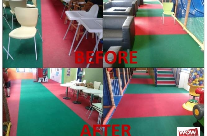 Before and after photos of soft play centre in Gosport