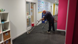 Carpet cleaning in a local Portsmouth school, getting ready for the new term to start in September