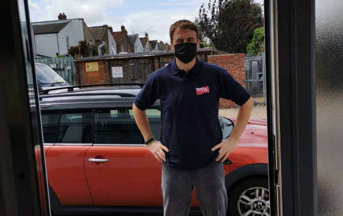 Our operative arrives at your door in logo workwear and a suitable face covering